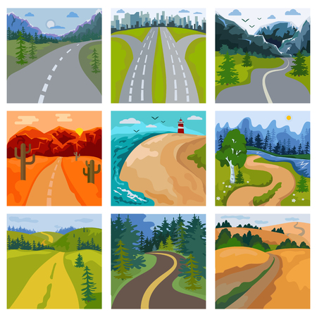 Road landscape vector roadway in forest and cityscape highway or roadside way to field lands with grass and trees in countryside illustration set of traveling in country or seaside. Stock Illustratie