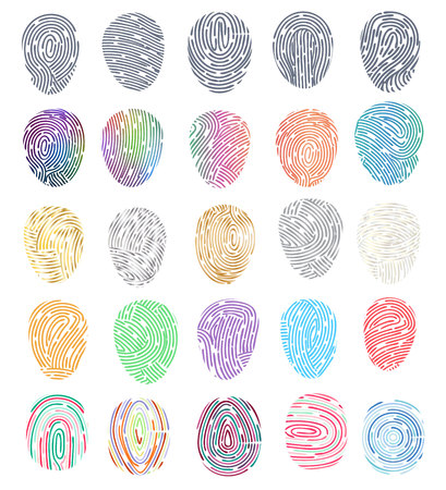 Identità di impronta digitale vettoriale di impronte digitali con set di illustrazione di identificazione della punta delle dita di diteggiatura e identificazione personale di sicurezza isolato su priorità bassa bianca