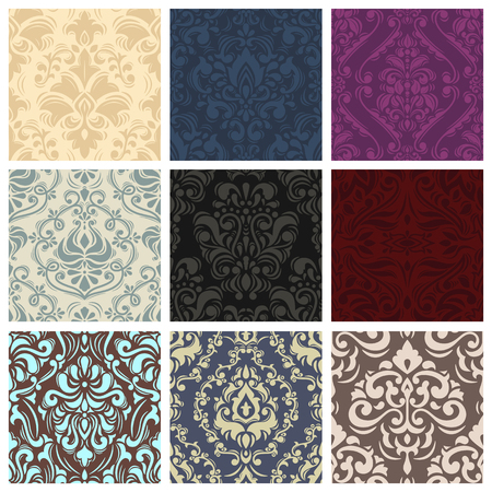 Vintage vector pattern seamless retro floral wallpaper or backdrop with ornament texture in victorian or baroque style illustration set of background Imagens - 105352530