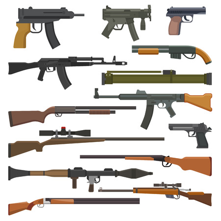 Gun vector military weapon or army handgun and war automatic firearm or rifle with bullet illustration set of shotgun or revolver isolated on white background. 版權商用圖片 - 105349412