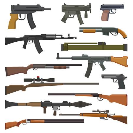 Pistola vettore arma militare o pistola dell'esercito e arma da fuoco automatica di guerra o fucile con set di illustrazione di proiettile di fucile da caccia o revolver isolato su priorità bassa bianca.