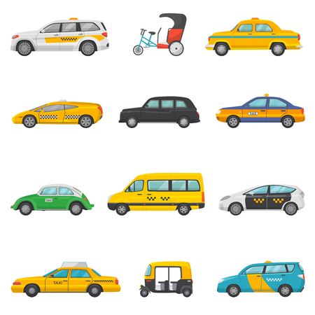 Taxi vector taxicab transport and yellow car transportation illustration set of city cab auto on taxi-rank and taxi driver in automobile isolated on white background.
