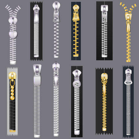 Zipper vector zip slide-fastener for clothing and closed metal fastener lock illustration set of unzip cloth accessory joining textile isolated on background. Illustration