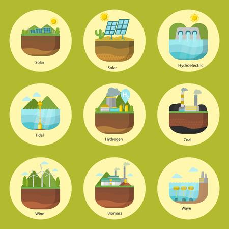 Erzeugungsenergietypen Kraftwerksvektor erneuerbare alternative Quelle Solar- und Gezeiten-, Wind- und Geothermie-, Biomasse- und Wellenillustration.