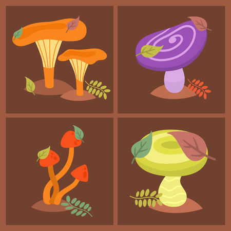 Mushrooms fungus agaric toadstool different art style design fungi vector illustration red hat Stock Photo