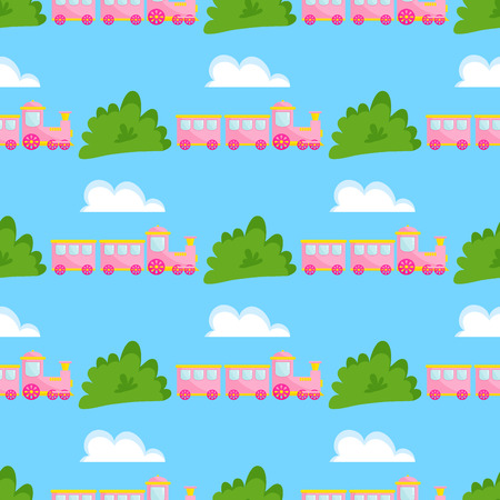 Kids train vector cartoon toy with colorful locomotive blocks railroad carriage game fun leisure joy gift children transport illustration seamless pattern background.