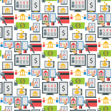 Online payment methods confirmed finance mobile banking workplace vector illustration in flat style seamless pattern background.