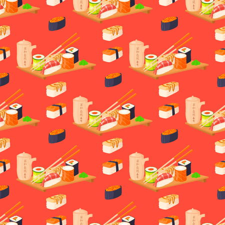 Sushi rolls vector food and japanese gourmet seafood traditional seaweed fresh raw snack illustration seamless pattern background Stock Photo