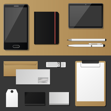 Corporate identity mock-up vector premium template set business office stationery realistic 3d mockup top view branding illustration.