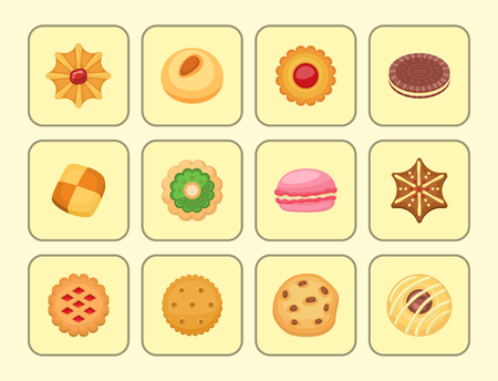 Different cookie cakes top view sweet food tasty snack biscuit sweet dessert vector illustration. Stock Photo