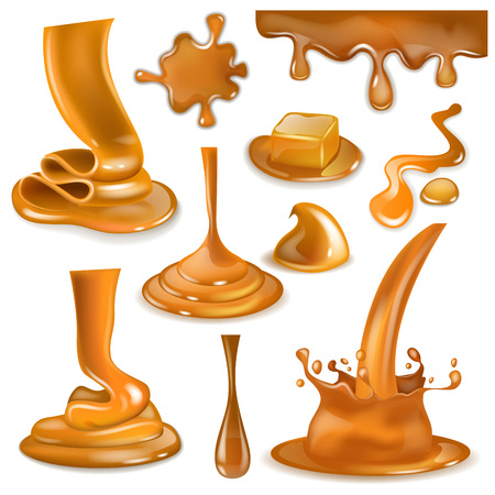 Caramel splash vector sweet flowing liquid sauce or pouring chocolate cream illustration set of caramelcandies and splashing creamy drops or droplet isolated on white background Archivio Fotografico