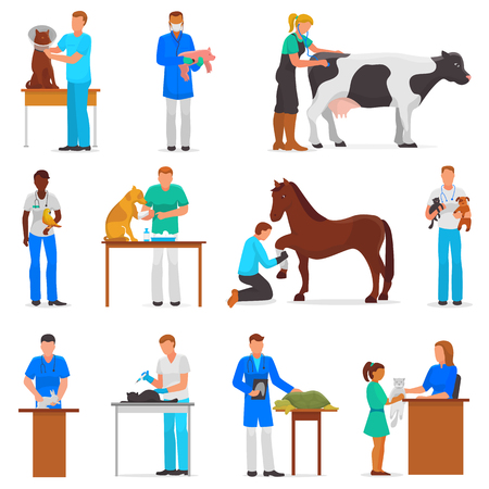 Veterinary vector veterinarian doctor man or woman treating pet patients cat or dog illustration set of vet people with animalistic characters in vetclinic isolated on white background