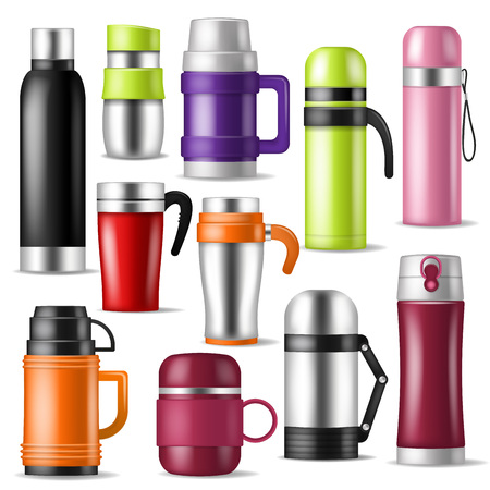 vector vacuum flask or bottle with hot drink coffee or tea illustration set of metal bottled container or aluminum mug isolated on white background