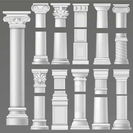 Oude kolom vector historische antieke kolom of klassieke pijler van historische Romeinse architectuur illustratie antiek architectonische set van rome of Griekse cultuur geïsoleerd op achtergrond