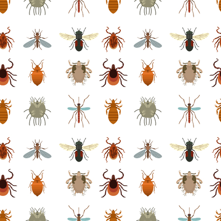 Human skin parasites vector housing pests insects disease parasitic bug macro animal bite dangerous infection medicine pest illustration. Danger epidemic ant virus seamless pattern background. Stock Illustratie