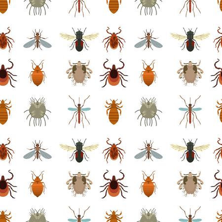 Menselijke huid parasieten vector huisvesting plagen insecten ziekte parasitaire bug macro dier beet gevaarlijke infectie geneeskunde plaag illustratie. Gevaar epidemische mier virus naadloze patroon achtergrond.
