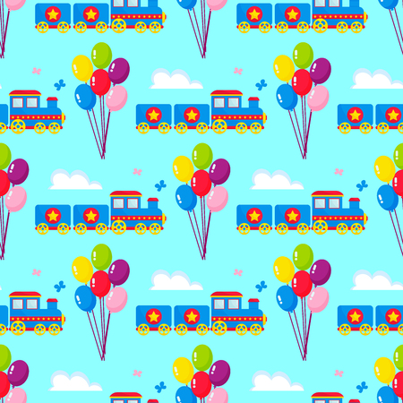 Kids train vector cartoon toy with colorful blocks railroad carriage game fun leisure joy gift children transport illustration. Locomotive transportation seamless pattern background.