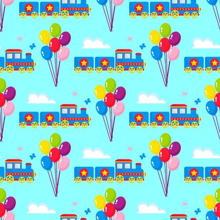 Kids train vector cartoon toy with colorful blocks railroad carriage game fun leisure joy gift children transport illustration. Locomotive transportation seamless pattern background.