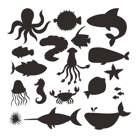 Animales marinos vector silueta criaturas personajes dibujos animados océano fauna marina acuario submarino vida agua gráfico acuático tropical bestias ilustración.