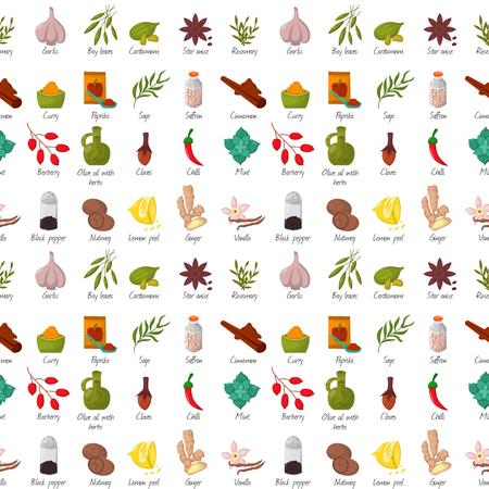 Gewürze Gewürze und Kräuter dekorative Elemente und Symbole. Samen Frucht Blütenknospen Blätter Mischungen und Wurzeln von Gewürzpflanzen. Gesundes Bio-Gemüse.