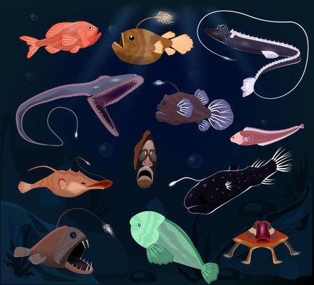 Rape vector personaje de depredador de peces marinos con dientes y luz o dibujos animados mar-pescador submarino en conjunto de ilustración de vida silvestre tropical de exóticos peces profundos en el océano aislado sobre fondo. Ilustración de vector
