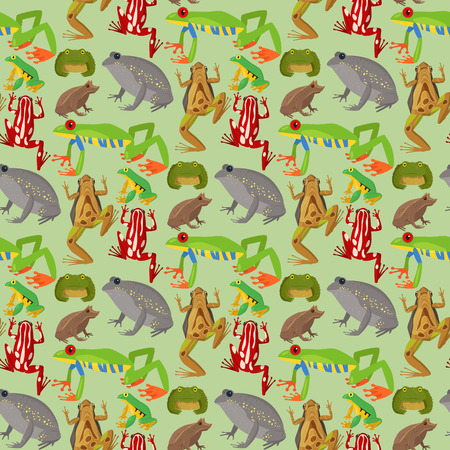 Frog vector cartoon tropical wildlife animal green froggy nature funny illustration toxic toad amphibian. Wild funny forest nature hop character seamless pattern background.