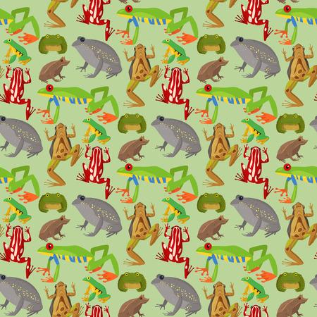 Rana vector de dibujos animados tropical fauna animal verde rana naturaleza divertida ilustración sapo tóxico anfibio. Fondo inconsútil del modelo del carácter del salto de la naturaleza del bosque divertido salvaje.