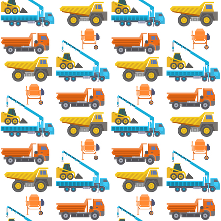 Construction delivery truck vector transportation vehicle construct and road trucking machine equipment. Dumper business truck cargo sand container industrial car seamless pattern background. Ilustrace
