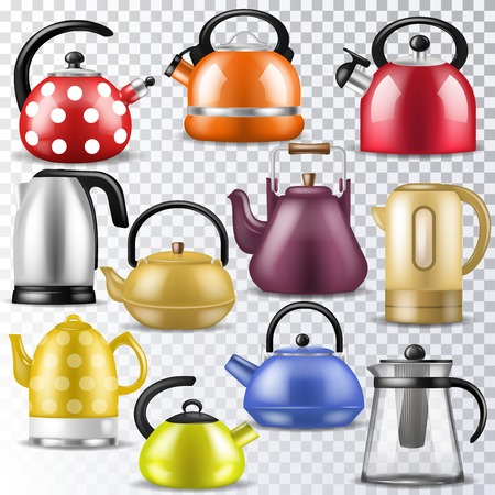 Kettle vector teakettle or teapot to drink tea on teatime and boiled coffee beverage in electric boiler in kitchen illustration kitchenware set isolated on transparent background