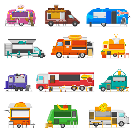 Food truck vector street food-truck vehicle and fastfood delivery transport with hotdog or doughnut restaurant or coffeeshop illustration set of snack foodtruck isolated on white background.