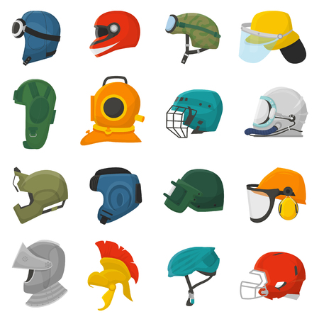 Helmet vector helm equipment protection or safety headpiece protecting head illustration set of motorcycle sport headgear with helmet-shield and ancient knight headwear isolated on white background