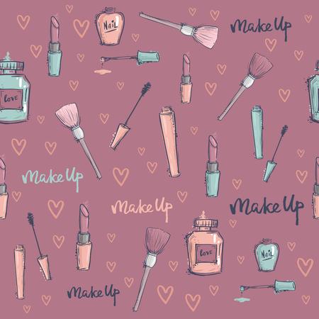 Fashion cosmetics accessories seamless pattern vector colors bright pink stylish fashioned vintage motive pastel illustration. Decorative hand drawn funky stylish girl love giftwrap. Çizim