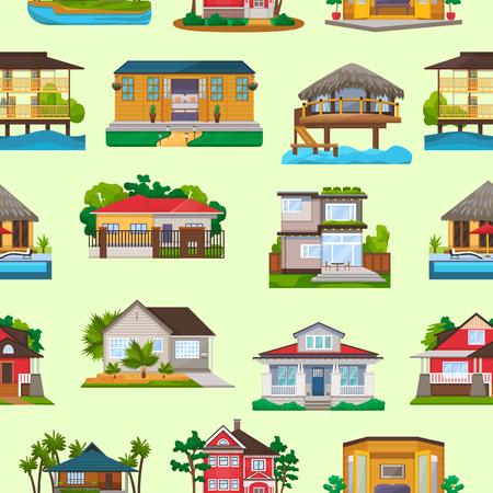 Fachada de vector de villa de construcción de viviendas y hotel resort tropical en la playa del océano en conjunto de ilustración de paraíso de bungalow en el fondo de la trama perfecta de pueblo. Ilustración de vector