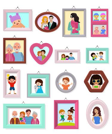 Image de cadrage de vecteur de cadre ou photo de famille pour l'ensemble d'illustration de décoration murale de bordure décorative vintage pour la photographie ou le portrait avec des enfants et des parents isolés sur fond blanc. Vecteurs