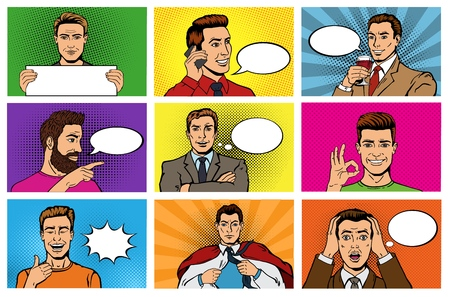 Comic man vector popart cartoon businessman character speaking bubble speech or comicguy expression illustration male set of men in pop art fashion style on background Stock Illustratie