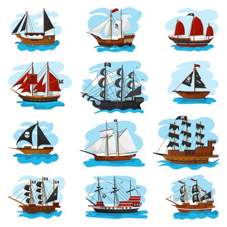 Barco pirata vector pirata barco barco velero y potente ilustración de lancha rápida pirata marino conjunto de envío pirata aislado sobre fondo blanco.
