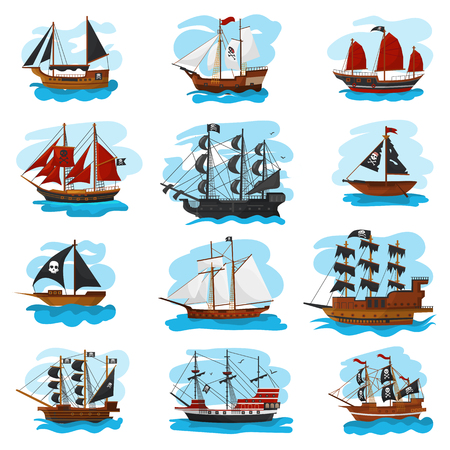 Piratic ship vector pirating boat vessel sailboat and powerful piratical speedboat illustration marine set of pirate shipping isolated on white background.