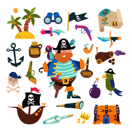 Pirate vector piratic character buccaneer man in pirating costume in hat with sword illustration set of piracy signs and ship or sailboat isolated on white background.