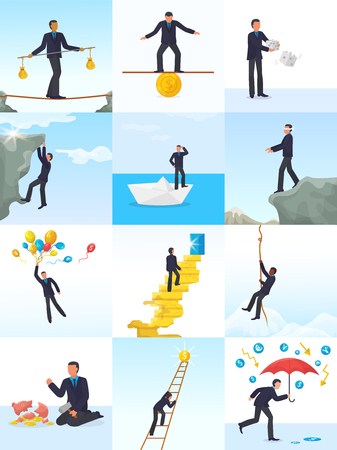 Businessman risk vector man in risky or dangerous business start up challenge illustration set of finance manager character of risked investment work isolated on white background. Çizim