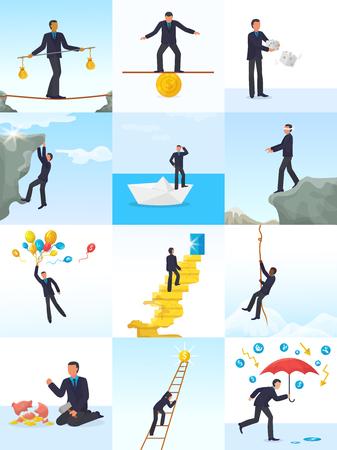 Geschäftsmann-Risikovektormann im riskanten oder gefährlichen Geschäftsanfang fordern Illustrationssatz des Finanzmanagercharakters der riskierten Investitionsarbeit lokalisiert auf weißem Hintergrund heraus.