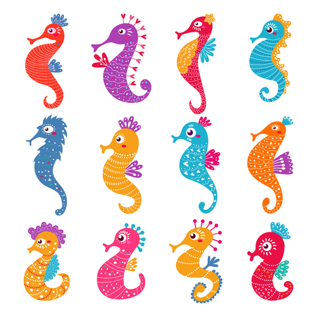 Seahorse vector seafish character or cartoon sea-horse undersea in tropical wildlife illustration set of exotic sea horse in aquarium or ocean isolated on white background.