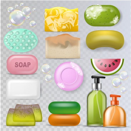 Soap vector hygiene soft-soap and bath soaper with soap-bubble illustration spa beauty set of bathroom skin care toiletries isolated on transparent background. Ilustração