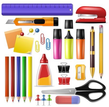 Suministros de oficina vector papelería escolar herramientas iconos y accesorios de educación surtido lápiz rotulador ilustración conjunto aislado sobre fondo blanco.