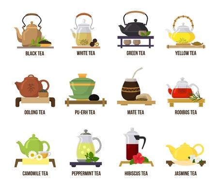 Tè verde vettoriale o tè nero nell'illustrazione della teiera che beve insieme di bevande fruttate al gelsomino e rooibos all'ora del tè nella caffetteria isolata su priorità bassa bianca.