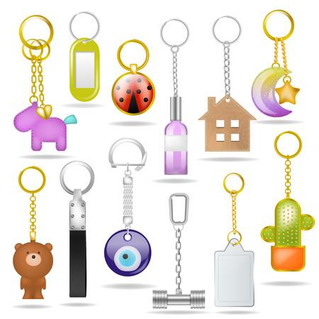 Llavero de metal de vector de baratija con anillo de plata amd conjunto de ilustración de recuerdo de llaves metálicas de bibelot para llave con símbolo de casa o oso y colgante aislado sobre fondo blanco