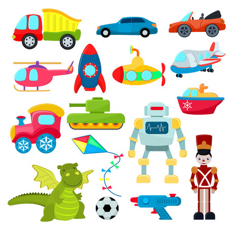 Kids toys vector cartoon games helicopter or ship submarine for children and playing with car or train illustration boyish set of robot and dinosaur in playroom isolated on white background. Çizim