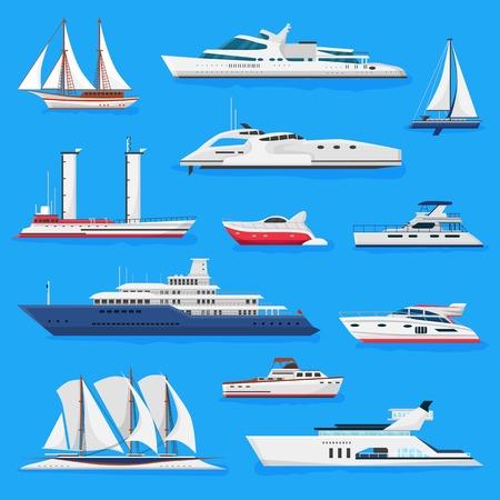 Statki wektor łodzi lub rejs podróżujący po oceanie lub morzu i żeglugi ilustracja transportu morskiego zestaw morskich jachtów żaglowych lub łodzi motorowej na białym tle na tle. Ilustracje wektorowe