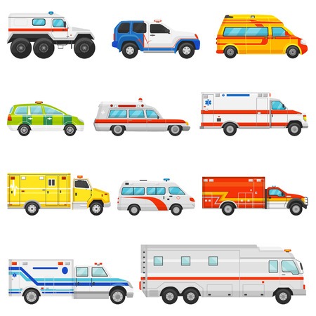Emergency vehicle vector ambulance transport and service truck illustration set of rescue cmedical car and minibus or van isolated on white background.