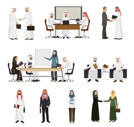 Vector de empresario árabe apretón de manos de empresarios árabes a su conjunto de ilustración de socio de negocios de empresaria árabe trabajando en oficina aislada sobre fondo blanco