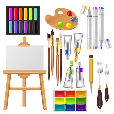 Strumenti dell'artista vettore acquerello con tavolozza di pennelli e vernici di colore per opere d'arte in arte studio illustrazione pittura artistica set pennelli o pennarello isolato su priorità bassa bianca.